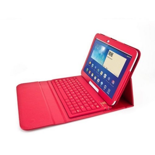 """Bluetooth Keyboard Leather Case Cover for Samsung Galaxy Tab 4 8.4"""" - Red"""