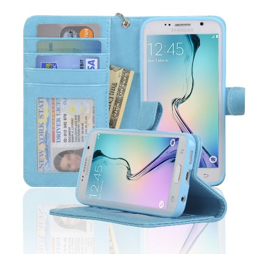 Navor Wallet Case for Samsung Galaxy S6 Edge - Light Blue