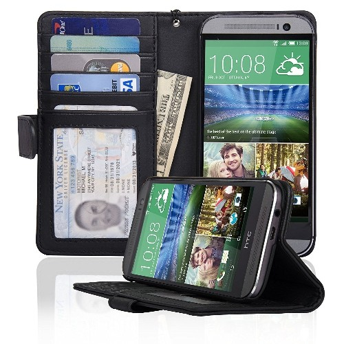 Navor Protective Flip Wallet Case for HTC One M8 - Black