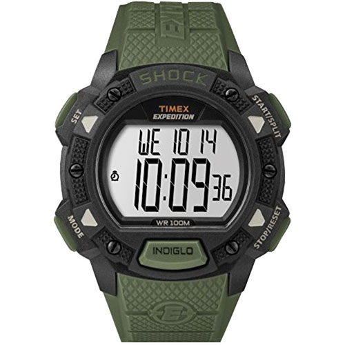 Timex Men's T499699J Expedition Double Shock Green/Brown ... |Timex Expedition Digital Watches Men