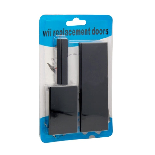 Wii Black Replacement Doors Slot Cover Set - Wii Door Cover Set
