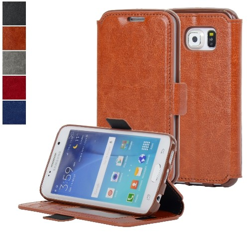 NAVOR Ultra Slim Protective Flip Wallet Case for Samsung Galaxy S6 Edge - Brown