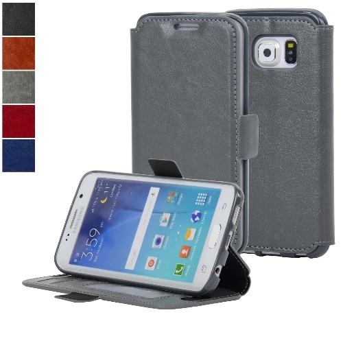 NAVOR Ultra Slim Protective Flip Wallet Case for Samsung Galaxy S6 Edge - Gray
