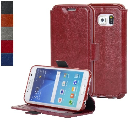 NAVOR Ultra Slim Protective Flip Wallet Case for Samsung Galaxy S6 Edge - Maroon