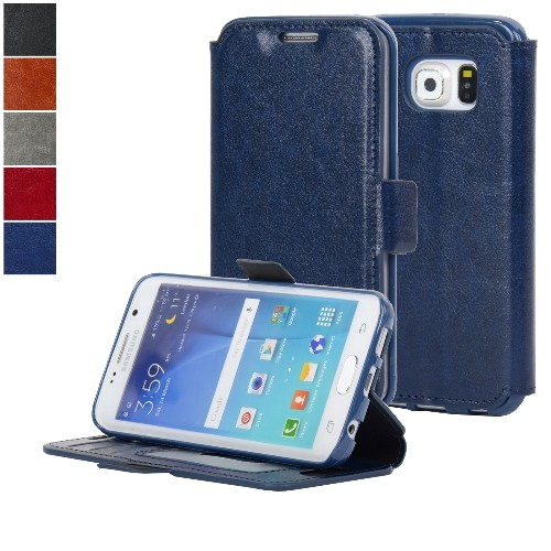 NAVOR Ultra Slim Protective Flip Wallet Case for Samsung Galaxy S6 Edge - Navy Blue