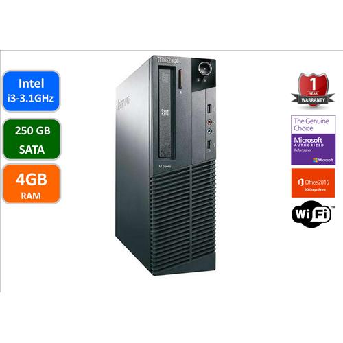Lenovo M81, Intel i3-2100-3.1 Ghz, 4GB Memory, 250GB Hard Drive, DVDRW, WIFI, Windows 10 Home, 1YW-Refurb
