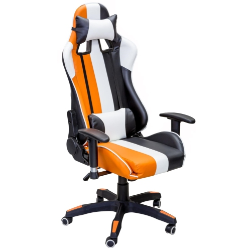 ViscoLogic Series SPRINT Gaming Racing Style Swivel Home Office Computer Desk Chair (Black Orange White)