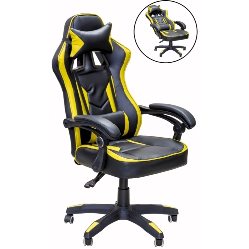 ViscoLogic Series SALOON Gaming Racing Style Swivel Home Office Computer Desk Chair (Black Gold)