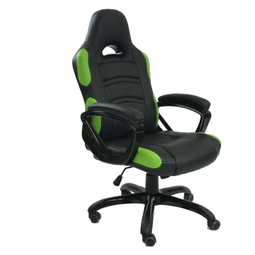 ViscoLogic Series TARCEL Gaming Racing Style Swivel Office Chair (Black & Green)