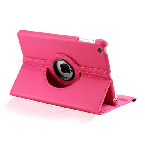 "Hot Pink Ipad Mini 360° Rotating Case/With Built In Stand/7.9"" Ipad Mini Tablet/Rotates & Stands On Two Sides / Pu Leather"