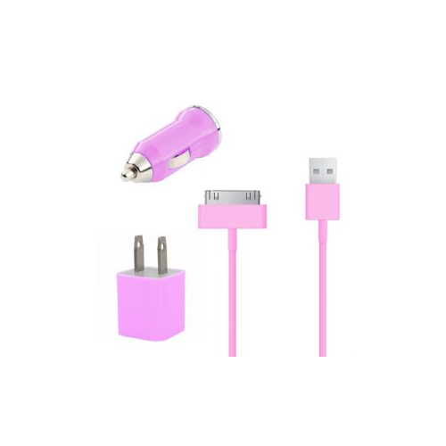 3 in 1 Car and Wall Charger with 30 pin Charging Cable for iPhone iPod - Pink