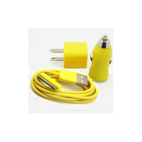3 in 1 Car and Wall Charger with 30 pin Charging Cable for iPhone iPod - Yellow