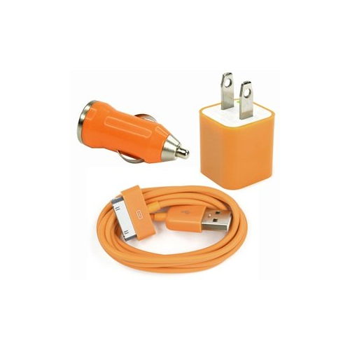 3 in 1 Car and Wall Charger with 30 pin Charging Cable for iPhone iPod - Orange
