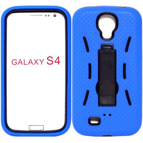 Samsung Galaxy S4 Heavy Duty Shockproof Case With Kickstand - Blue