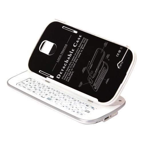 Sliding Detachable Bluetooth Keyboard Case Samsung Galaxy S4 - White