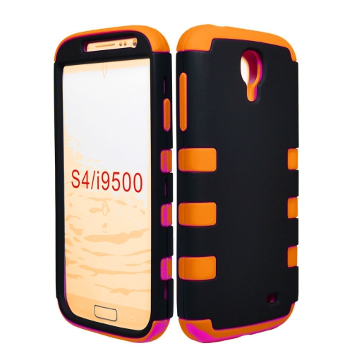 Hybrid 3 Piece Armor Case Cover for Samsung Galaxy S4 - Orange