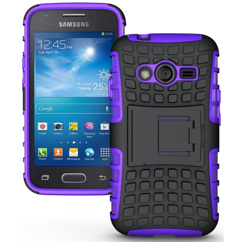 Hybrid 3 Piece Armor Case Cover for Samsung Galaxy S4 - Purple