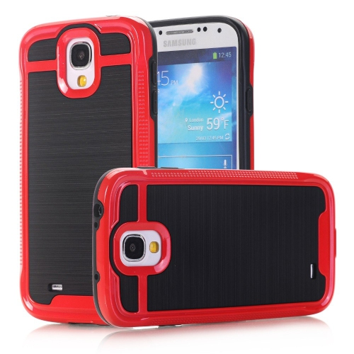 Hybrid 3 Piece Armor Case Cover for Samsung Galaxy S4 - Red