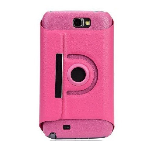 360 Rotating Leather Case for Samsung Galaxy Note 2 II N7100 -Hot Pink