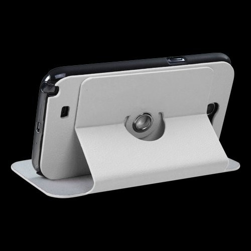 360 Rotating Leather Case for Samsung Galaxy Note 2 II N7100 - White