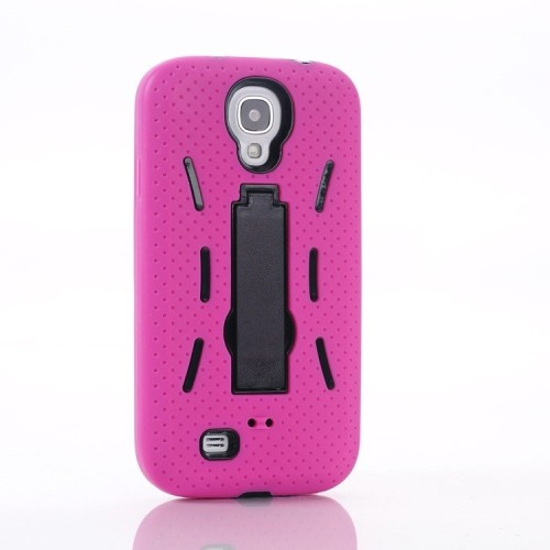 Samsung Galaxy S4 Heavy Duty Shockproof Case With Kickstand - Hot Pink