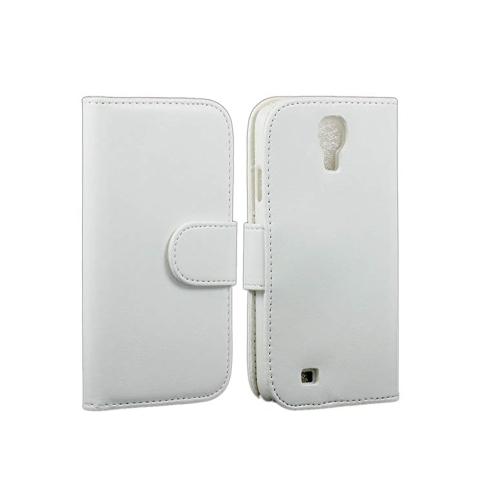 Étui portefeuille en cuir PU pour Samsung Galaxy S4 / i9500 - Blanc