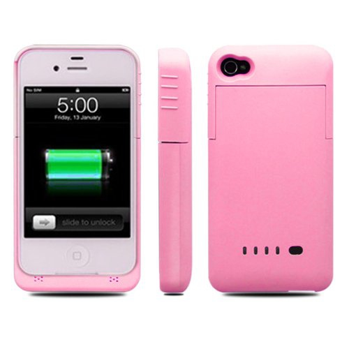 1900 mAh External Backup Battery Case Power Pack Bank Extended for iPhone 4/4S - Pink