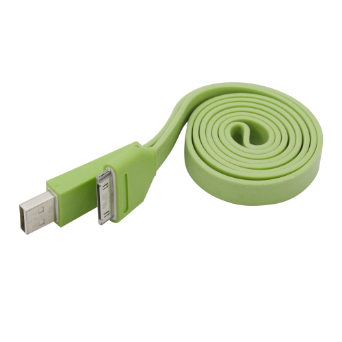 iPhone iPad iPod 30pin Flat Slim USB Cable 1M (3ft) - Green
