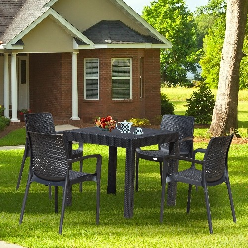Outsunny 5pc All Weather Resin Patio Dining Set Garden Outdoor Chair Table  Furniture Black : Outdoor Chairs   Best Buy Canada