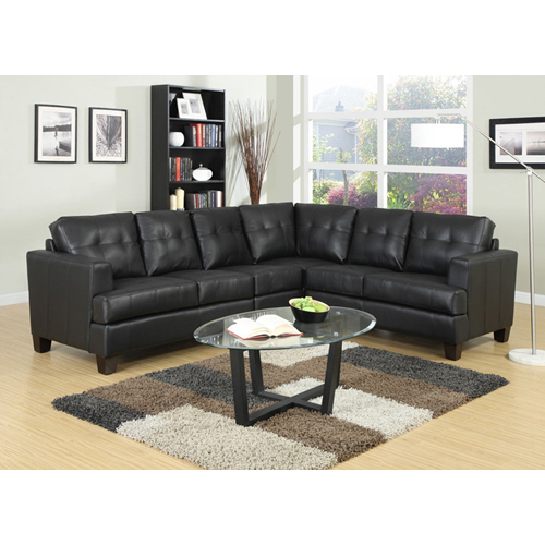 True Contemporary Toronto Black Tufted Bonded Leather L