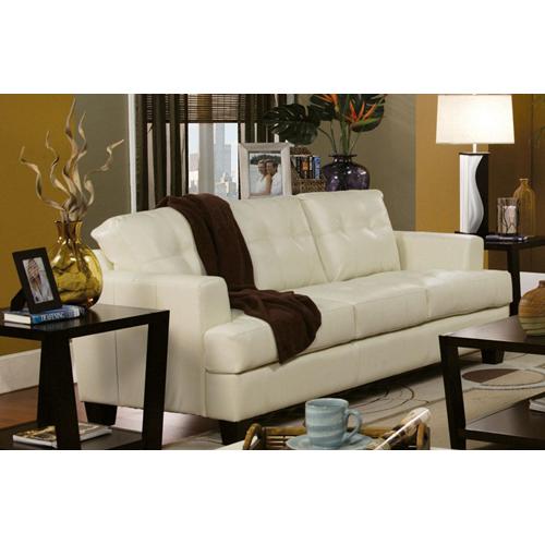 True Contemporary Toronto Cream Tufted Bonded Leather Sofa Sofas
