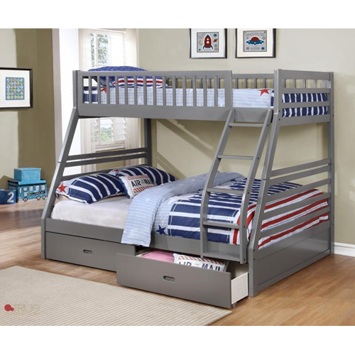True Contemporary Fraser Grey Twin Over Full Transitional Bunk Bed