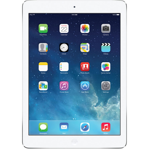 "Apple iPad Air One 9.7"" 32GB with Wi-Fi + Cellular, White/Silver, Refurbished, English (MF529LL/A)"