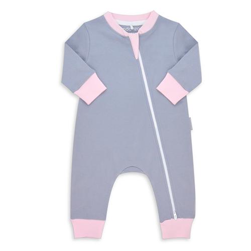 Endanzoo 100% Certified Organic Long Sleeve Baby Romper - Grey w/ Pink