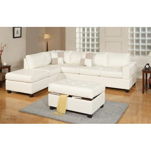 The Benefits Of Having A White Leather Sectional: Urban Cali Sacramento Cream Eco Leather Sectional Sofa