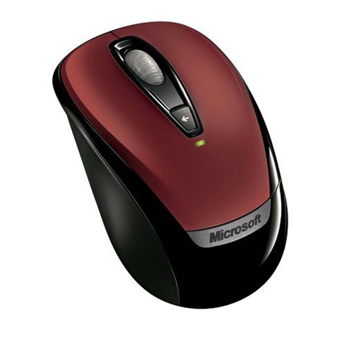 Microsoft Wireless Notebook Mobile Optical Mouse 3000 With USB Dongle Red