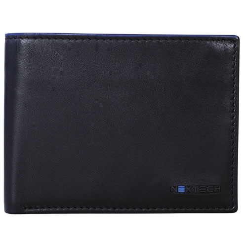 Nextech Leather Slim Billfold With Wings - Black