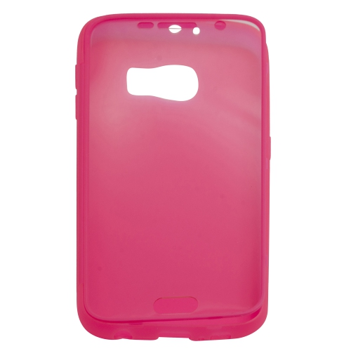 Samsung Galaxy S6 TPU Gel Case With Transparent Front Door - Hot Pink