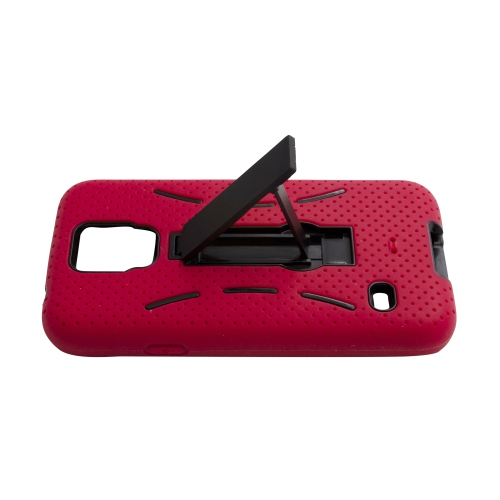 Samsung Galaxy S5 Rubber Kick-stand Case - Red