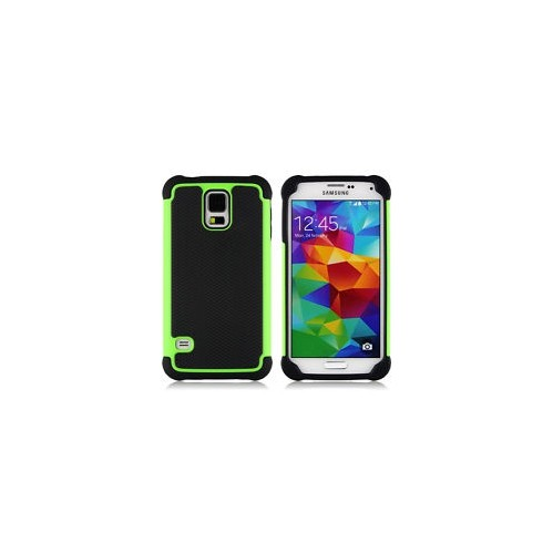 Rugged Impact Hybrid Hard Back Case Cover For Samsung Galaxy S5- Green
