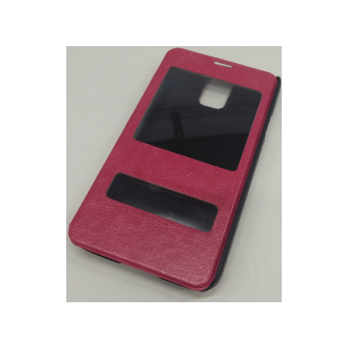 Samsung Galaxy S5 Double Window Leather Case - Hot Pink