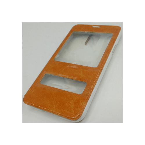 Samsung Galaxy S5 Double Window Leather Case - Orange