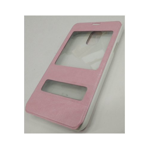 Samsung Galaxy S5 Double Window Leather Case - Baby Pink
