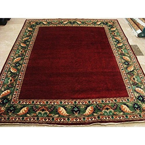 Ahmedani Modern Gabbeh Afghan Ruby Excellent Square Carpet Hand Knotted Rug 7.11' x 6.10' Area Rug - Red