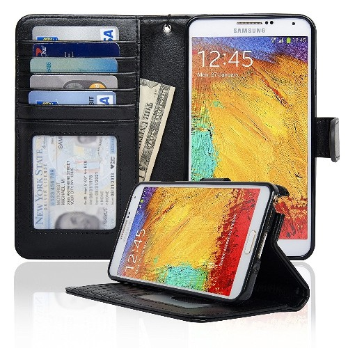 Navor Protective Flip Wallet Case for Samsung Galaxy Note 3 - Black