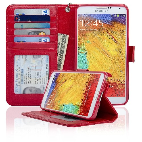 Navor Protective Flip Wallet Case for Samsung Galaxy Note 3 - Red