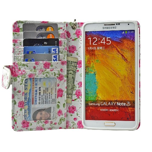 Navor Protective Flip Wallet Case for Samsung Galaxy Note 3 - Rose