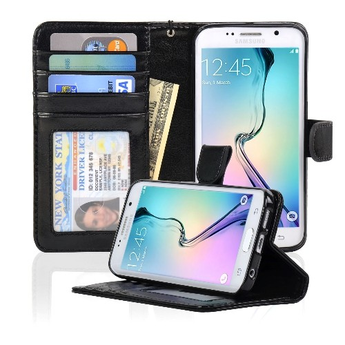 Navor Samsung Galaxy S6 Edge Wallet Folio Leather Case with Four Card Pockets & Money Slot, Removable Strap - Black
