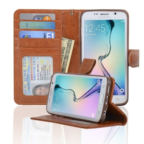 Navor Samsung Galaxy S6 Edge Wallet Folio Leather Case with Four Card Pockets & Money Slot, Removable Strap - Brown