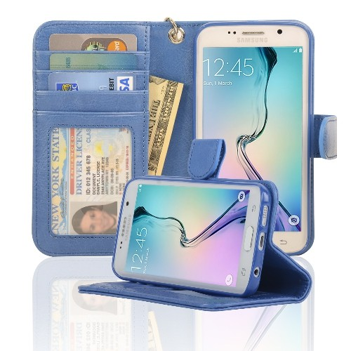 Navor Samsung Galaxy S6 Edge Wallet Folio Leather Case with Four Card Pockets & Money Slot, Removable Strap - Hot Blue